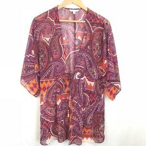 Cabi Paisley Red Sheer Cover Up Kimono sz Medium